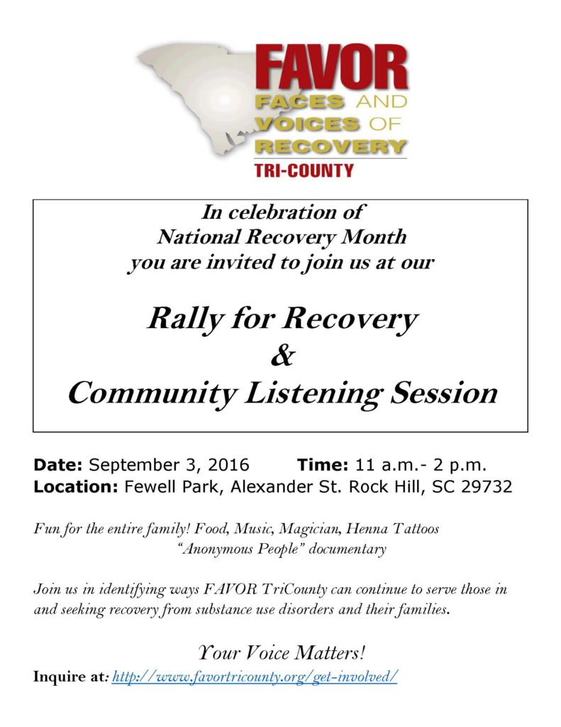 Rally for Recovery & Community Listening Session @ Fewell Park | Rock Hill | South Carolina | United States