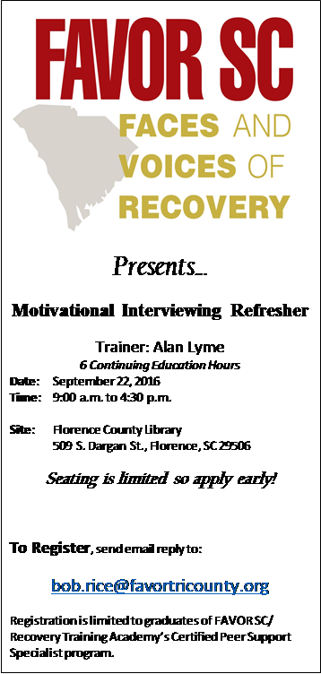 Motivational Interviewing Refresher @ Florence County Library | Florence | South Carolina | United States