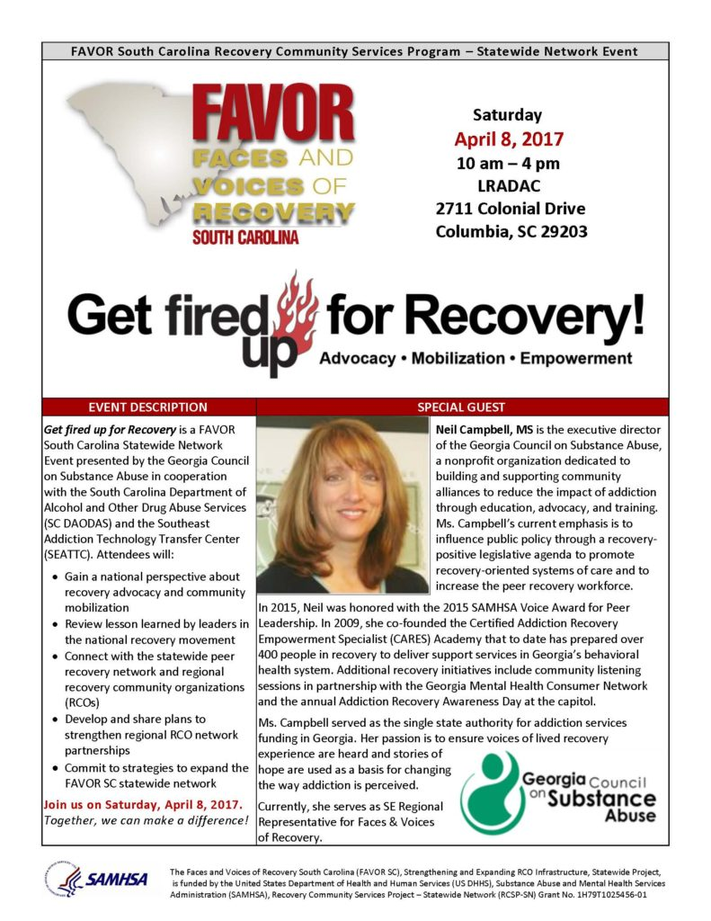 Get Fired Up for Recovery @ LRADAC | Columbia | South Carolina | United States